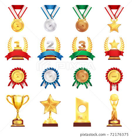 Award Trophy Medal Realistic Set 72176375