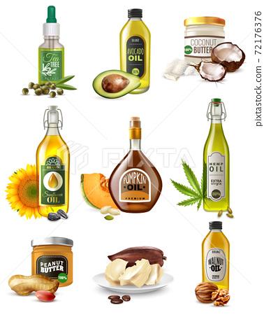 Realistic Vegetable Oils Set 72176376