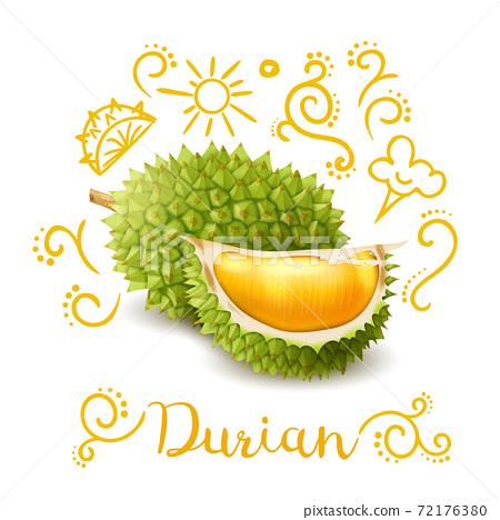 Exotic Fruit Durian Doodles Composition 72176380