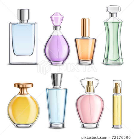 Perfume Glass Bottles Colorful Realistic 72176390