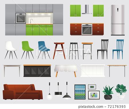 Kitchen Furniture Accessories Flat Set 72176393