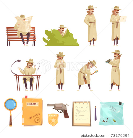 Private Detective Cartoon Icons Collection 72176394