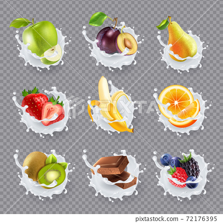 Fruits Milk Splashes Realistic Set 72176395