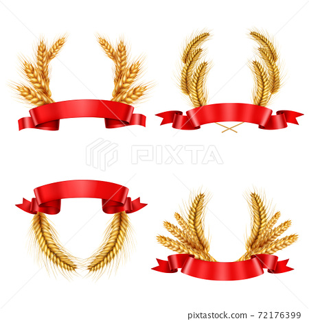 Realistic Spikelet Wreaths With Ribbons 72176399