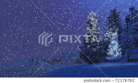 Snowy fir on mountain top at snowfall winter night 72176762