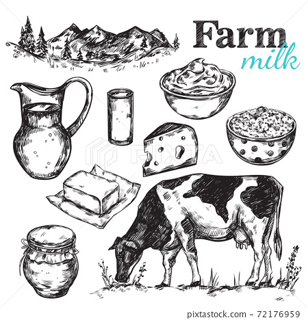 Cow And Nature Milk Sketch 72176959