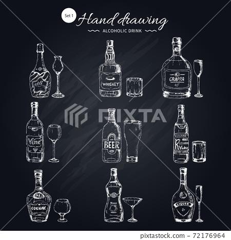 Alcoholic Beverages Monochrome Icons Set 72176964