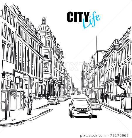 Sketch City Street 72176965
