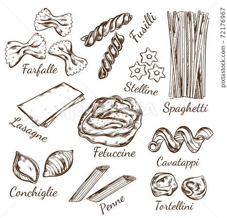Pasta Types Sketch Set 72176967