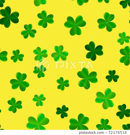 Clover Leaves Seamless Pattern Background Vector Illustration 72178518