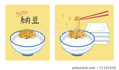 Illustration of lifting natto with chopsticks (with natto rice and pack) 72185048
