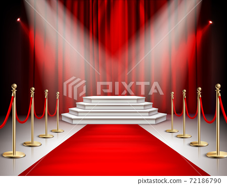 Red Carpet Curtain Realistic Image 72186790