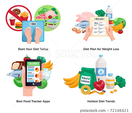 Diet For Weight Loss 2x2 Design Concept 72186821