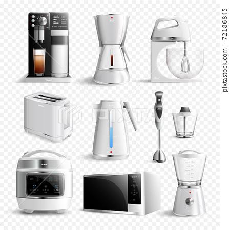 White Household Kitchen Appliances Transparent Icon Set 72186845