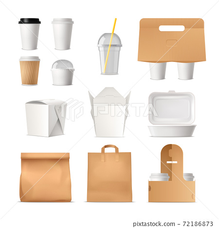 Takeout Fast Food Package Realistic Set 72186873