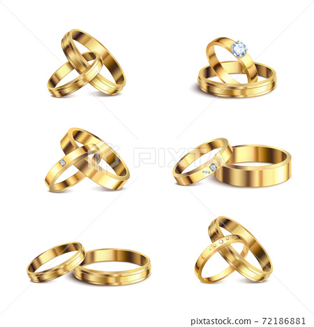 Wedding Rings Realistic Set 72186881