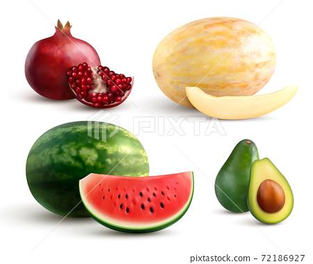 Fruits Realistic Set 72186927