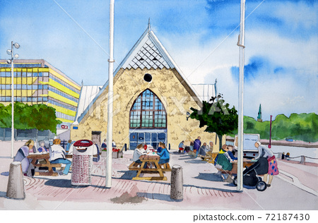 約特布里(Yotebori),瑞典第二大城市,魚市場的水彩畫,稱為魚教堂(Fish Church) 72187430