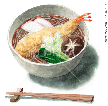 Analog watercolor Toshikoshi soba shrimp Tensoba chopsticks 72187534