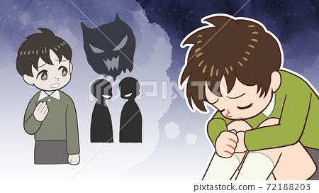 Bullying, backbiting, eye-catching illustrations of depressed children 72188203