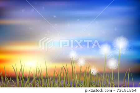 Dandelion in the meadow with cloud on the blue sky in winter background 72191864