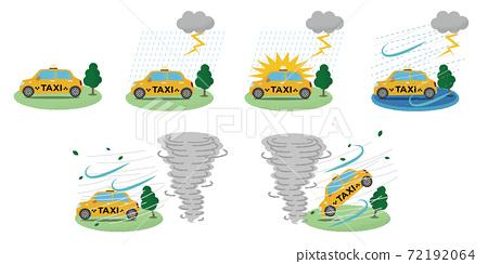矢量圖組的黃色出租車遭受雷暴和龍捲風 72192064