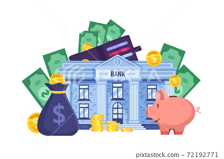 Personal budget financial vector concept with wallet, piggy bank, building, coins, dollar bills.  72192771