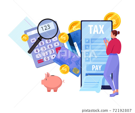 Online tax report and payment vector concept with young woman filling payroll in internet,smartphone 72192807