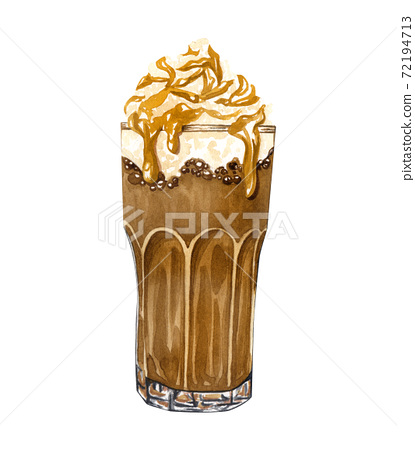 Hand drawn cup of coffee latte. Watercolor caramel frappe illustration. 72194713