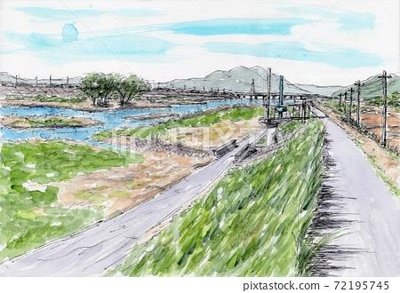 Saba River in winter 72195745