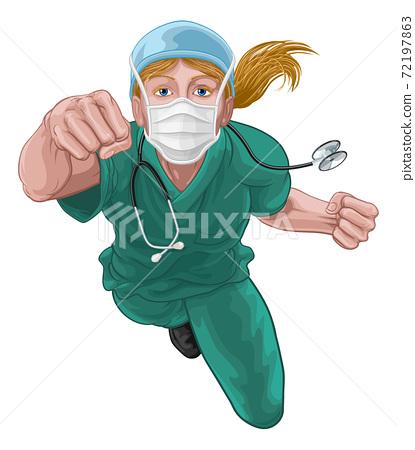 Nurse Doctor Woman Super Hero Medical Concept 72197863