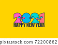 Happy New year 2021 with numbers that are hugging. 72200862