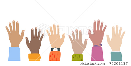 Multicultural and multiethnic people community integration concept with raised human hands. Racial equality of different culture and countries background. Vector Illustration 72201157