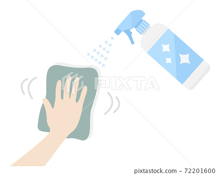 Illustration of wiping with a disinfectant spray 72201600