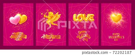Happy Valentines Day Luxury Greeting Cards Set 72202187