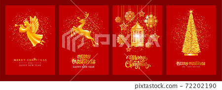 Merry Christmas And Happy New Year Luxury Greeting Cards Set 72202190