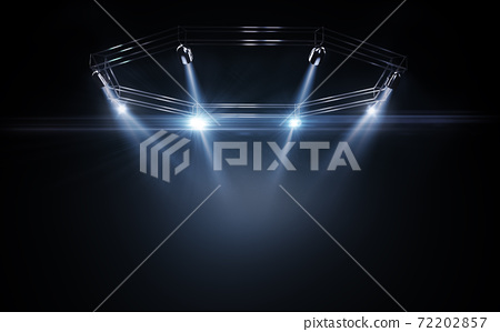 Spotlight shines on the stage, scene, podium. 3D rendering lighting equipment on a stage. Blue light. Bright lighting with spotlights. Isolated light in black. 3D 72202857