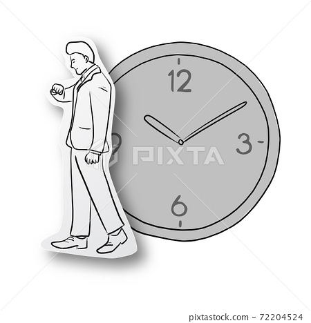 Vector illustration black line hand drawn of businessman looking at watch on cut paper with shadow and big clock isolated on white background. Paper art. Business punctuality concept. 72204524
