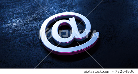 at symbol with metal steel surface on concrete underground 3d render illustration 72204936