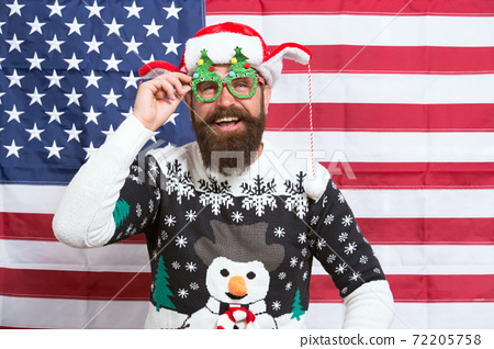 Decorate Christmas with american flag. Patriotic hipster  72205758