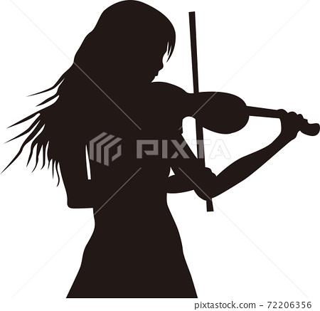 小提琴的女性剪影 72206356