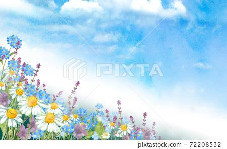 草藥和春天的花朵水彩插圖的風景 72208532