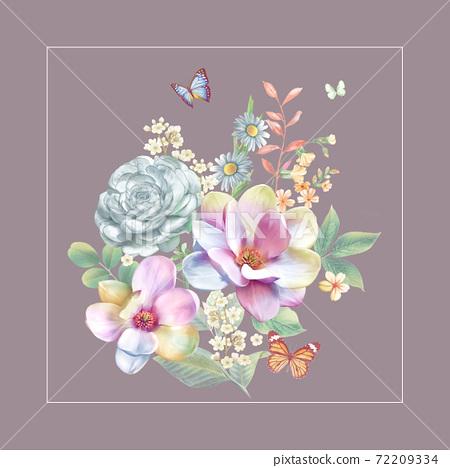 色彩豐富的花卉素材組合和設計元素 72209334