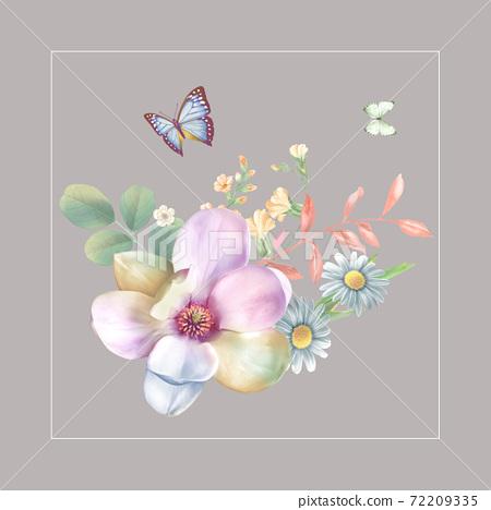 色彩豐富的花卉素材組合和設計元素 72209335