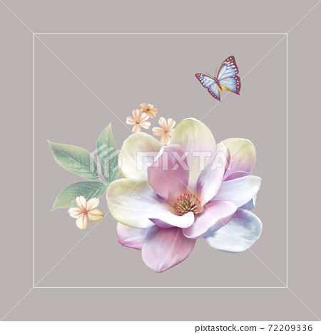 色彩豐富的花卉素材組合和設計元素 72209336