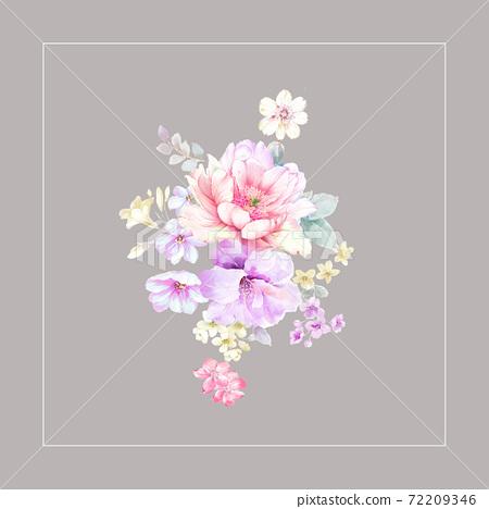 色彩豐富的花卉素材組合和設計元素 72209346