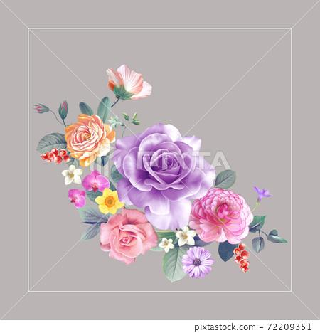 色彩豐富的花卉素材組合和設計元素 72209351