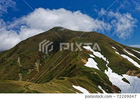 從上越邊境山脊線垂直跑道上看,初夏時谷谷山脈和小O澤的頭 72209847
