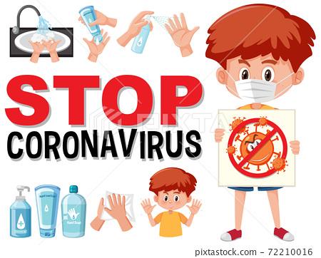 Stop coronavirus with boy holding stop coronavirus 72210016