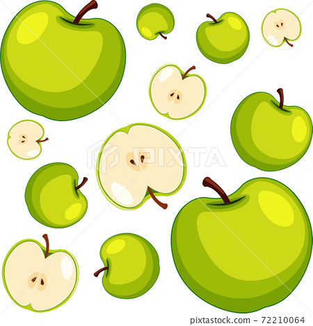 Green apple seamless pattern on white background 72210064